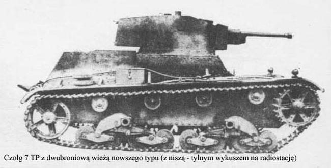 Czołg 7TP z dwubroniową wieżą nowego typu(z niszą - tylnym wykuszem na radiostację)