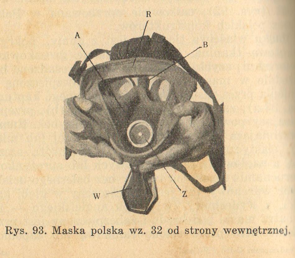 Maska polska wz.32 od strony wewnętrznej