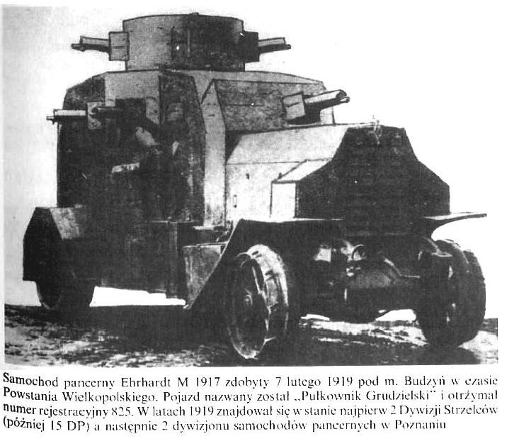 Samochód pancerny Ehrhardt M 1917 zdobyty 7 lutego 1919 roku