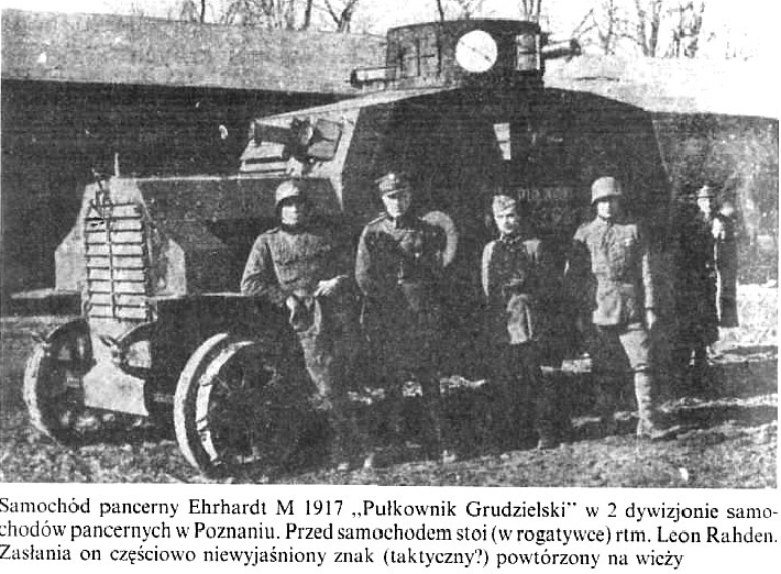 """Samochód pancerny Ehrhardt """"Pułkownik Grudzielski"""" w 2 dywizjonie samochodów pancernych w Poznaniu"""