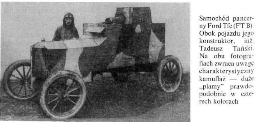 """Samochód pancerny Ford """"Tfc"""". Obok pojazdu jego konstruktor, inż. Tadeusz Tański"""