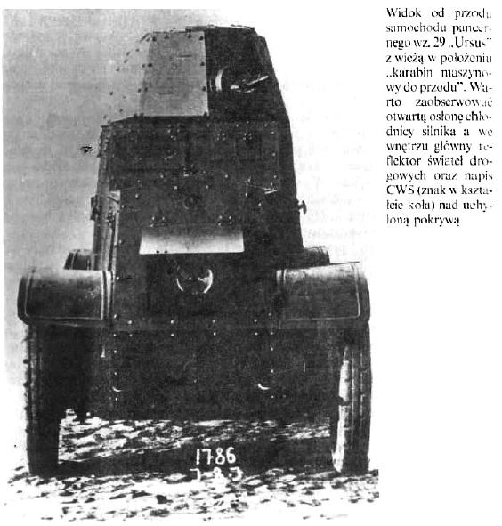 """Widok od przodu samochodu pancernego wz.29 """"Ursus"""""""