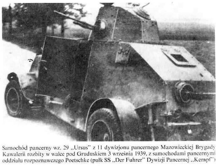 """Samochód pancerny """"Ursus"""" z 11 dywizjonu pancernego Brygady Kawalerii"""