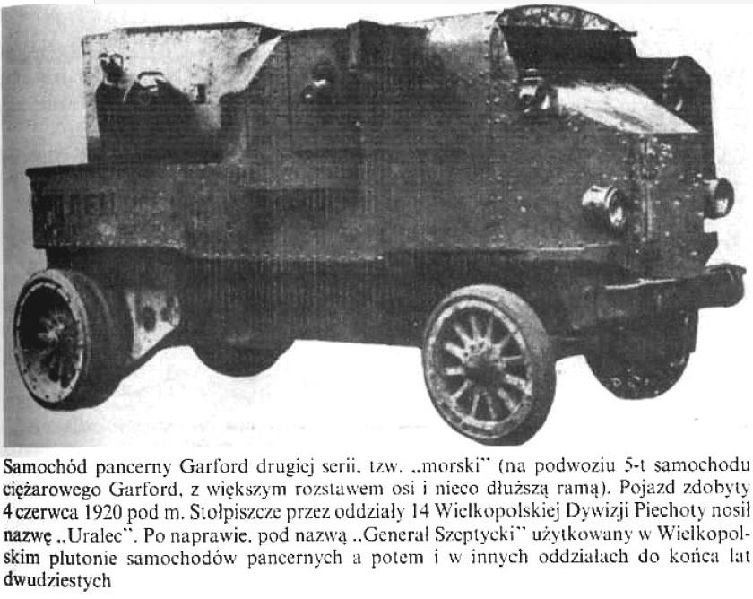 """Samochód pancerny Garford drugiej serii tzw. """"morski"""" (na podstawie 5-tonowego samochodu ciężarowego Garford z większym rozstawem osi i nieco dłuższą ramą)"""