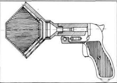 Przekrój pistoletu sygnałowego wzór 1944 z statkowym urządzeniem obezwładniającym