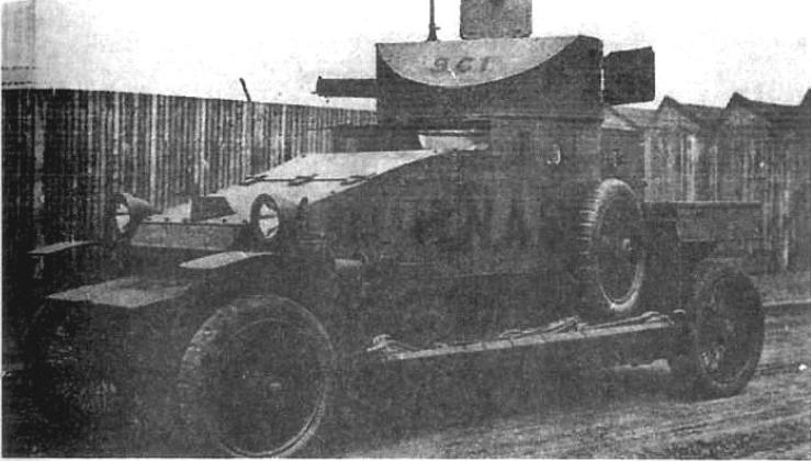 Seryjny samochód pancerny Lanchester. Pojazd oznakowany jako pierwszy wóz trzeciego plutonu (sekcja C), 5 szwadronu samochodów pancernych brytyjskiego RNAS(Royal Naval Air Service - lotnictwo morskie) w obozie ćwiczebnym Wormwood Scrubs
