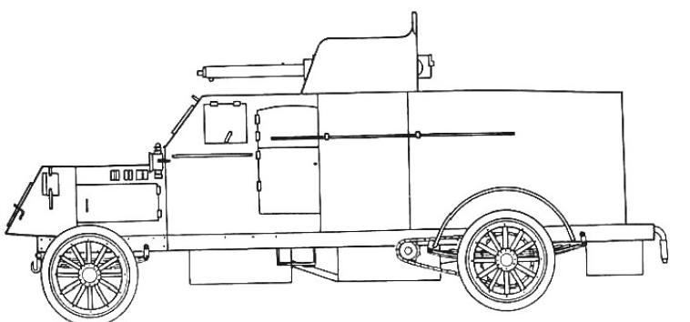 Samochód pancerny Peerless z 40 mm armatą przeciwlotniczą po modernizacji dokonanej w Rosji